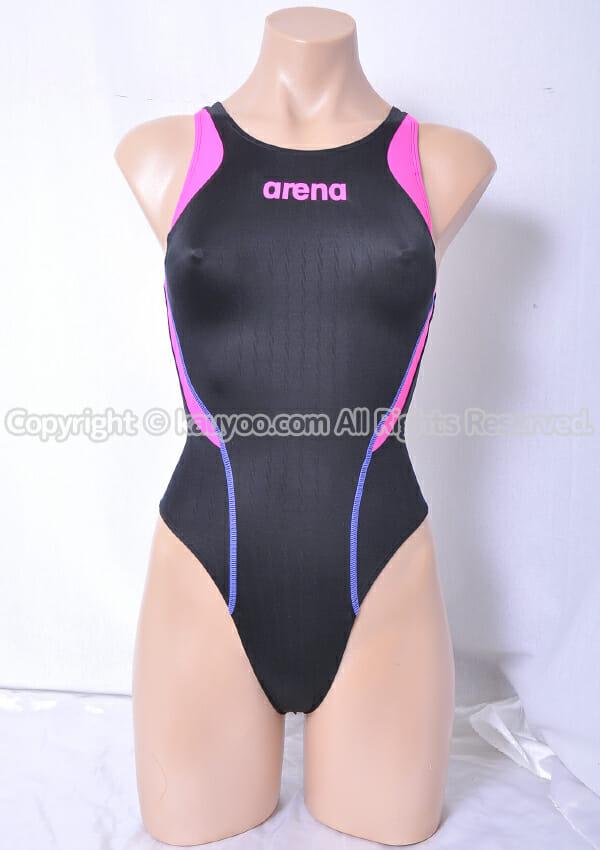 【買取】arena X-PYTHON2 リミック fina承認 ARN-7031W ハイレグ競泳水着 黒×ピンク