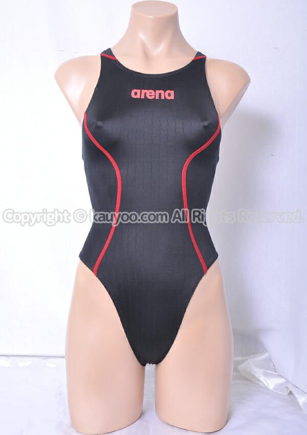 【買取】アリーナ X-PYTHON2 リミック  fina承認 ARN-7021W ハイレグ競泳水着 黒×赤ステッチ