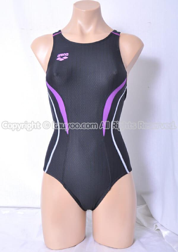 【買取】アリーナ AQUA RACING UROKO SKIN fina承認 ARN-7051W 競泳水着 黒×紫