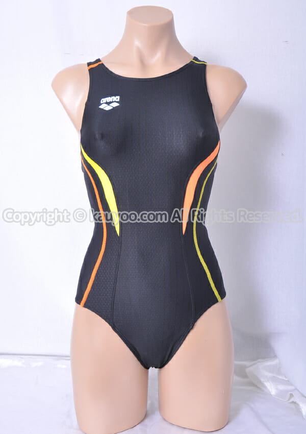 【買取】arena ウロコスキンST アクアレーシング FINA承認 ARN-8051W 競泳水着 黒×黄×オレンジ