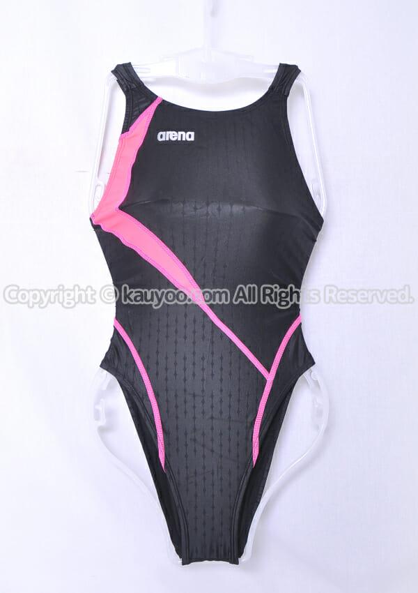 【買取】arena アリーナ nux-F ニュークスF リミック ハイレグ競泳水着 FAR-9535WH 黒ピンク