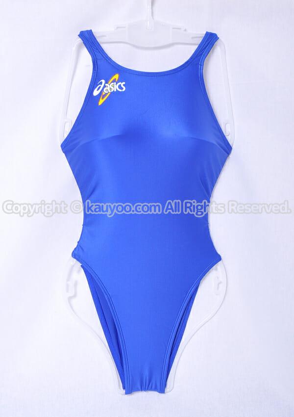 【買取】アシックス 初期ロゴ ハイドロSP ALS414 スパイラルカット2 光沢ハイレグ競泳水着 ブルー