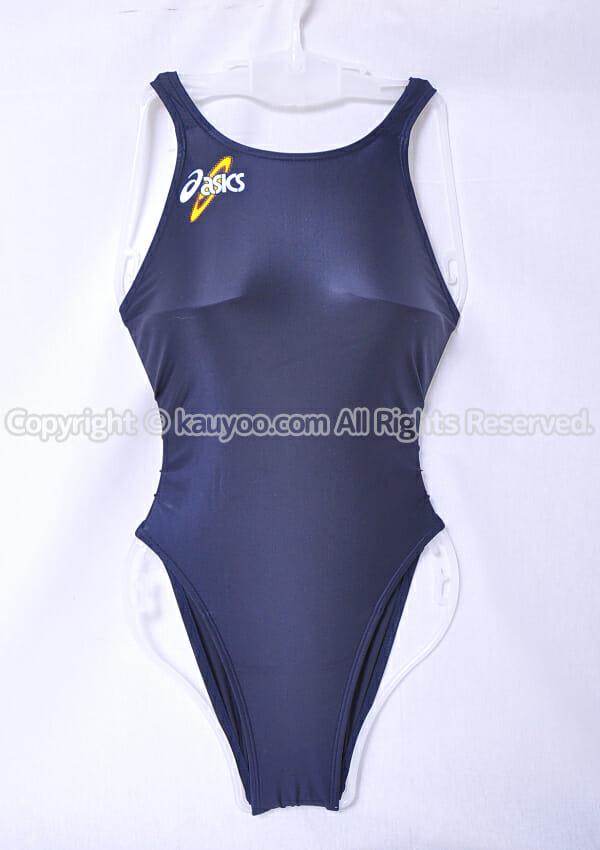 【買取】asics 初期ロゴ ハイドロSP ALS414 スパイラルカット2 光沢ハイレグ競泳水着 ネイビー