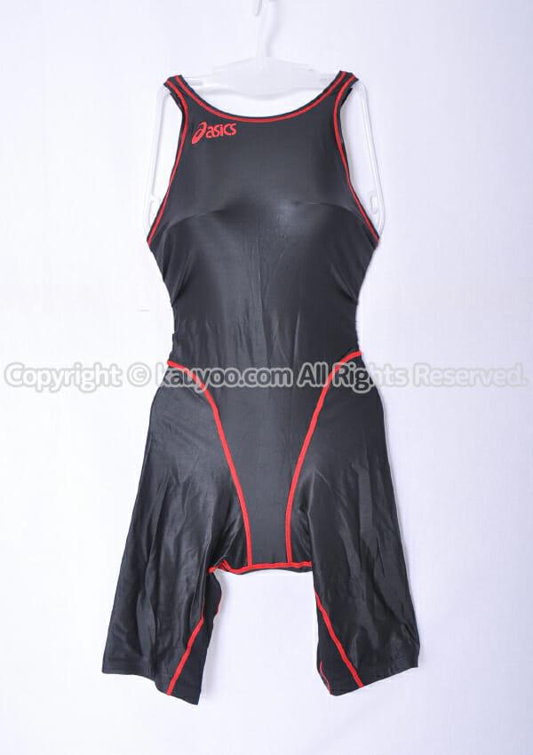 【買取】asics アシックス 旧ロゴ ハイドロSP ALS05S 光沢ハーフスパッツ競泳水着 黒赤