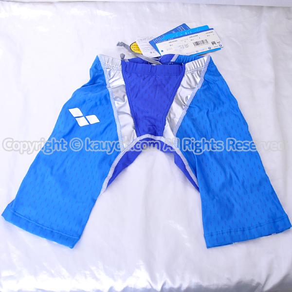 【買取】アリーナ aile-blue  エールブルー ハーフスパッツ競泳水着 ARN-6008M ブルー×シルバー