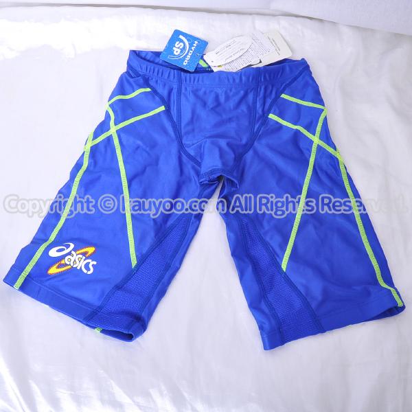 【買取】asics アシックス 初期ロゴ ハイドロSP  AMA407 光沢ハーフスパッツ競泳水着 ブルー