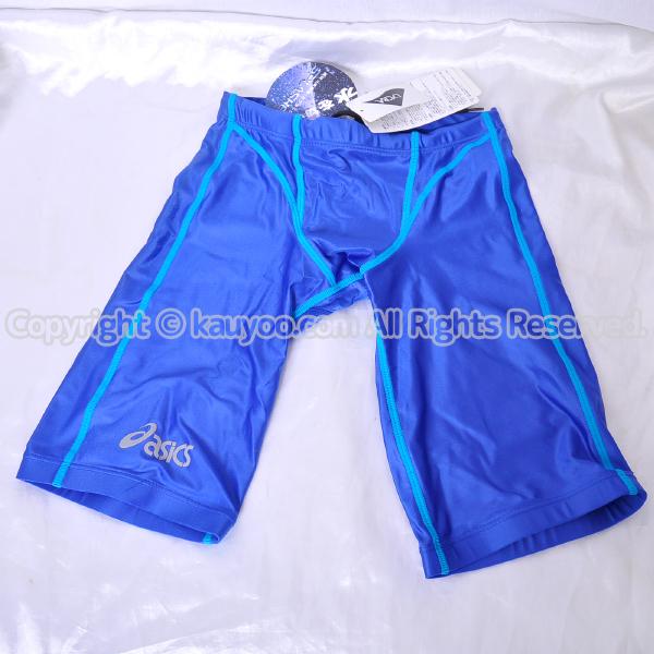 【買取】asics 旧ロゴ SPLASHER スプラッシャー AMA416 光沢ハーフスパッツ競泳水着 ブルー