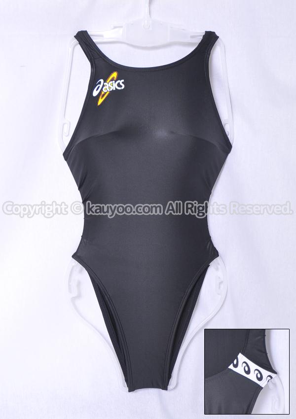 【買取】アシックス 初期ロゴ ハイドロSP ALS414 スパイラルカット2 ハイレグ競泳水着 ブラック