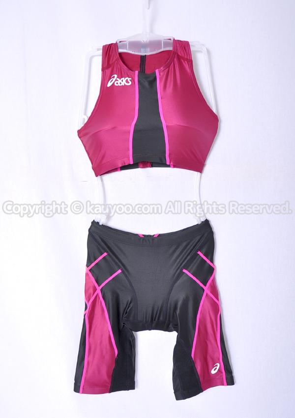 【買取】アシックス TLINER セパレートハーフスパッツ競泳水着 ALS12S+ALS13S 赤×黒