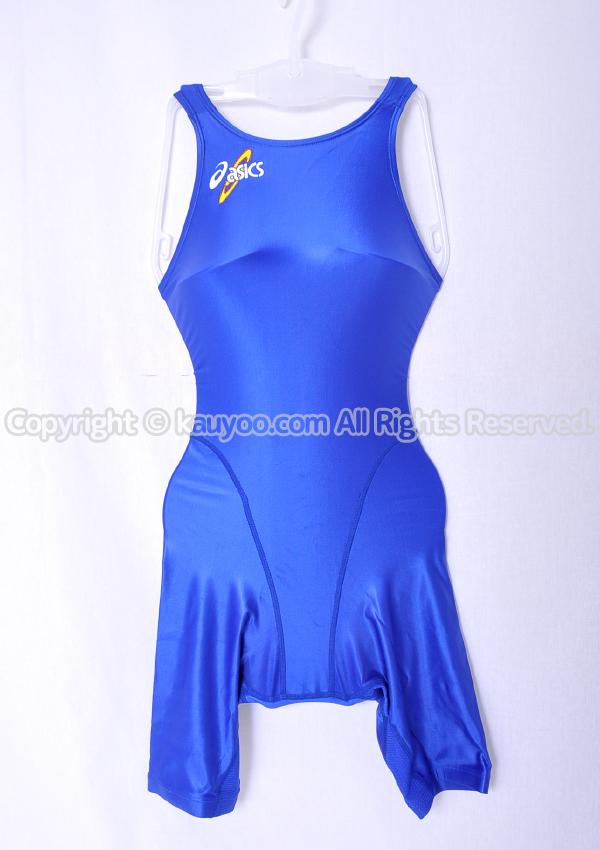 【買取】アシックス 初期ロゴ ハイドロSP ALS405 光沢ハーフスパッツ競泳水着 ブルー