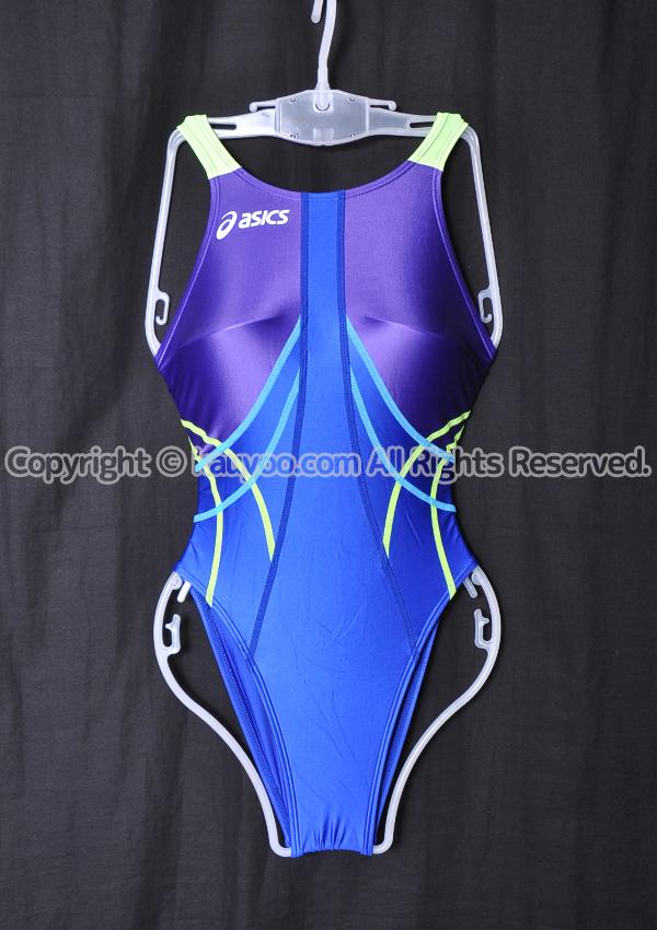【買取】asics アシックス TLINER ハイドロSP ALS09S 競泳水着 ブルーXパープル×イエロー