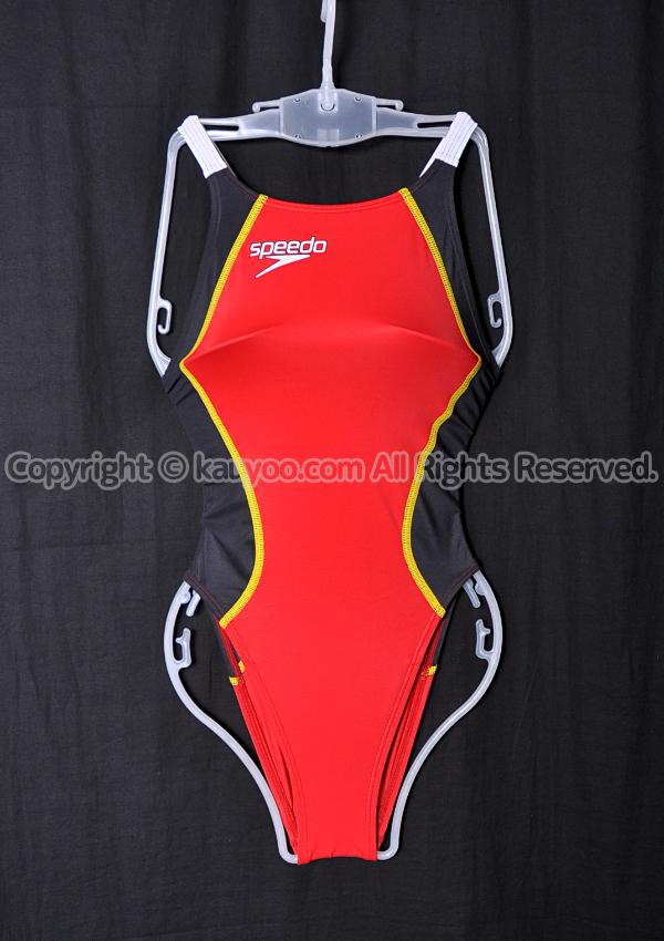 【買取】speedo スピード Fastskin XT-W レースカット競泳水着 SD48A01N レッド×ブラック(RK)