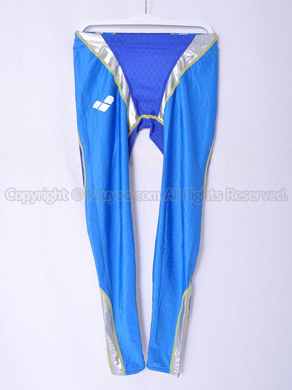 【買取】arena アリーナ aile-blue エールブルー ロングスパッツ競泳水着 ARN-6007M 青×銀