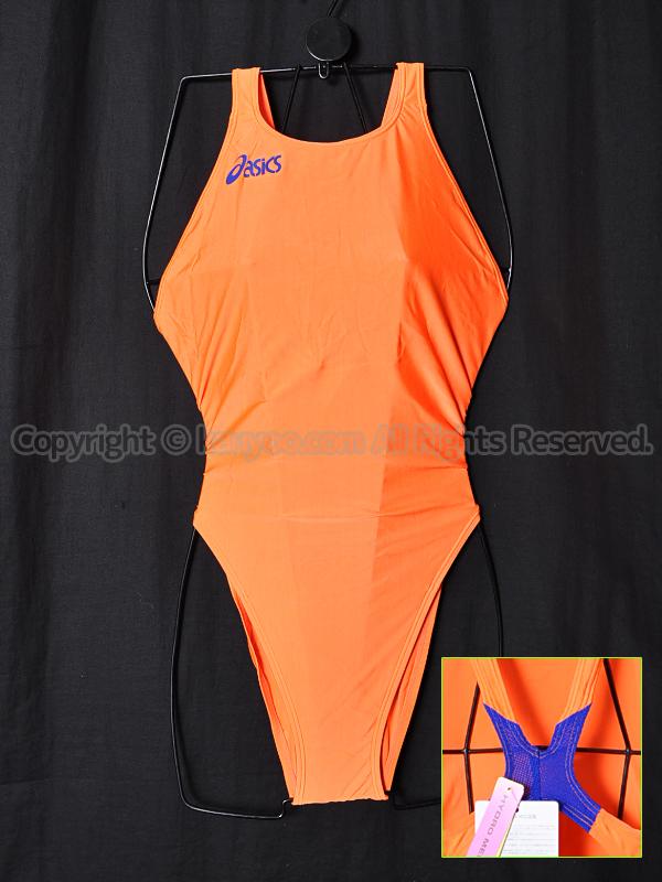 【買取】asicsアシックス旧ロゴ ハイドロCD×ハイドロメッシュALS55Tハイカット競泳水着オレンジ×ブルー