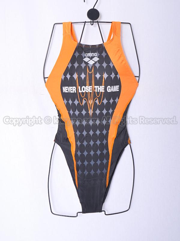 【買取】arenaアリーナnuxニュークスARN-6017WHリミック光沢ハイレグ競泳水着ORG