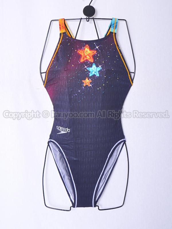【買取】speedoスピード83OG-70214アクアブレードΣアクセライン競泳水着ネイビー×オレンジ