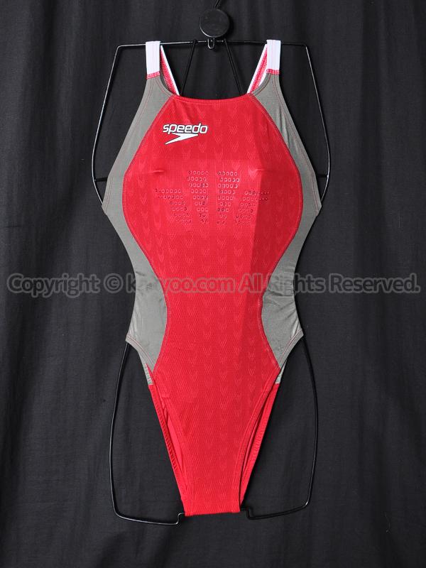 【買取】speedoスピード83OC-50563ファーストスキンFS2 ハイカット競泳水着Cレッド×Dシルバー×ホワイト