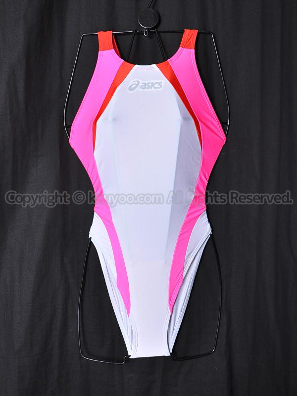 【買取】asicsアシックス旧ロゴALS86TハイドロCD切替ハイカット競泳水着ホワイト×ピンク×レッド