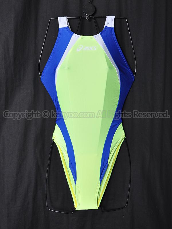 【買取】旧ロゴasicsアシックスALS86TハイドロCD切替スパイラルカット競泳水着イエロー×ブルー×白
