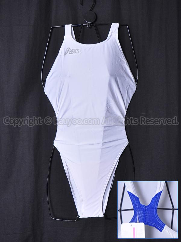 【買取】asicsアシックス旧ロゴハイドロCD×ハイドロメッシュALS55T競泳水着ホワイト×ブルー