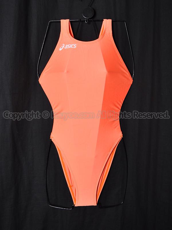 【買取】asicsアシックス旧ロゴALS85TハイドロCDスパイラルカット競泳水着オレンジ