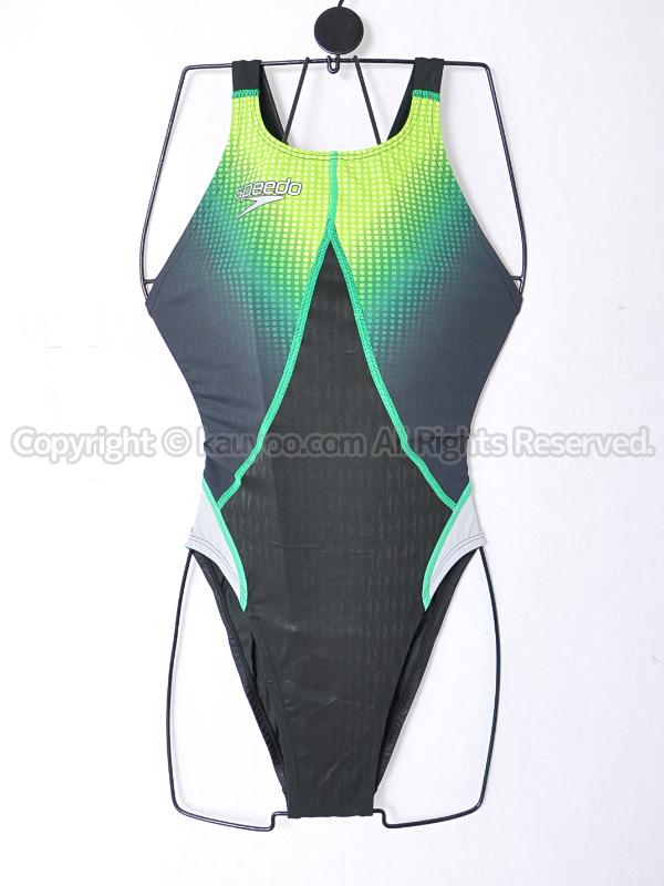【買取】speedoアクアブレードシグマスター83OD-70293ハイカット競泳水着ブラック×グリーン