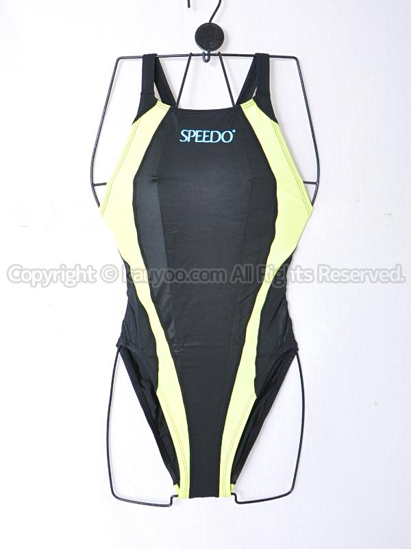 【買取】旧SPEEDOアクアスペック切替83OG-22109光沢アクセライン競泳水着ブラック×イエロー