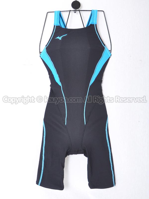 【買取】mizunoエクサースーツN2MG827891ハーフスパッツ練習用競泳水着ブラック×ライトブルー