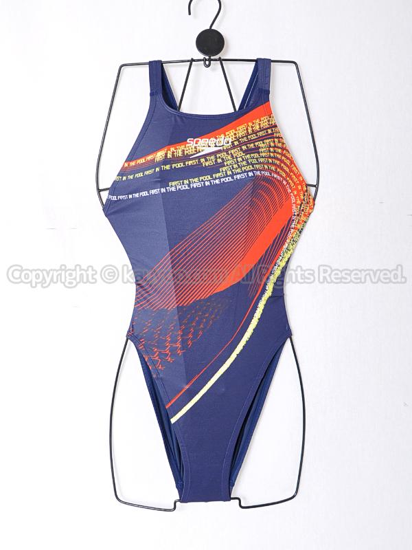 【買取】speedoスピードflyingfishレースカット競泳水着SD40A05ネイビーブルー柄