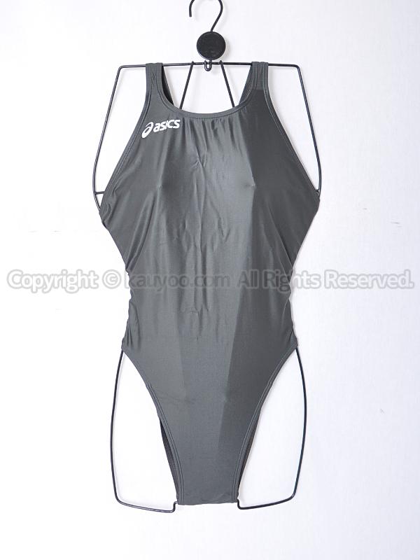【買取】asicsアシックス旧ロゴALS23SハイドロSP光沢ハイレグ競泳水着Fina承認ガンメタ