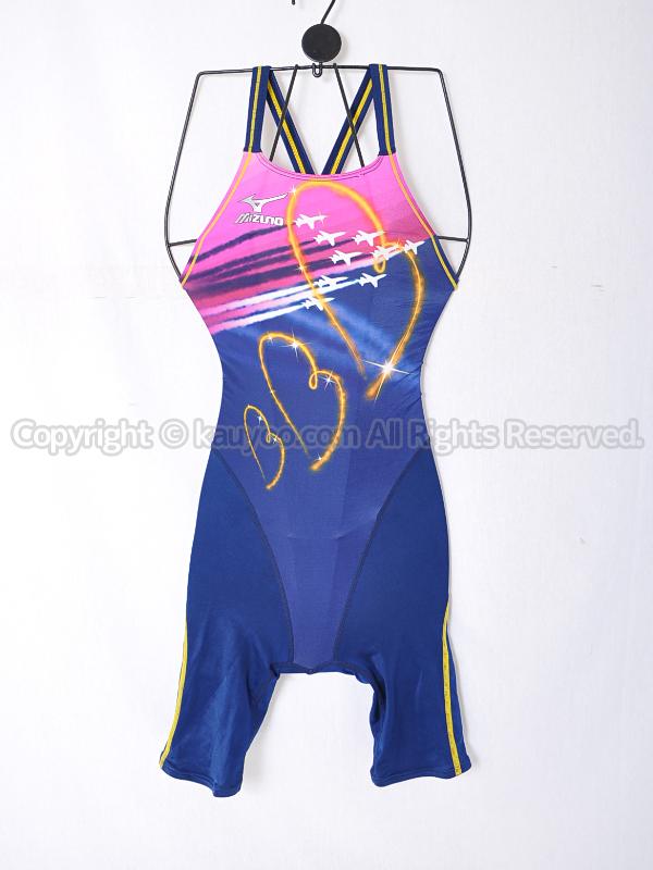 【買取】mizunoマイティライン2 Fina承認ハーフスパッツ競泳水着85OI211ネイビー×ピンク