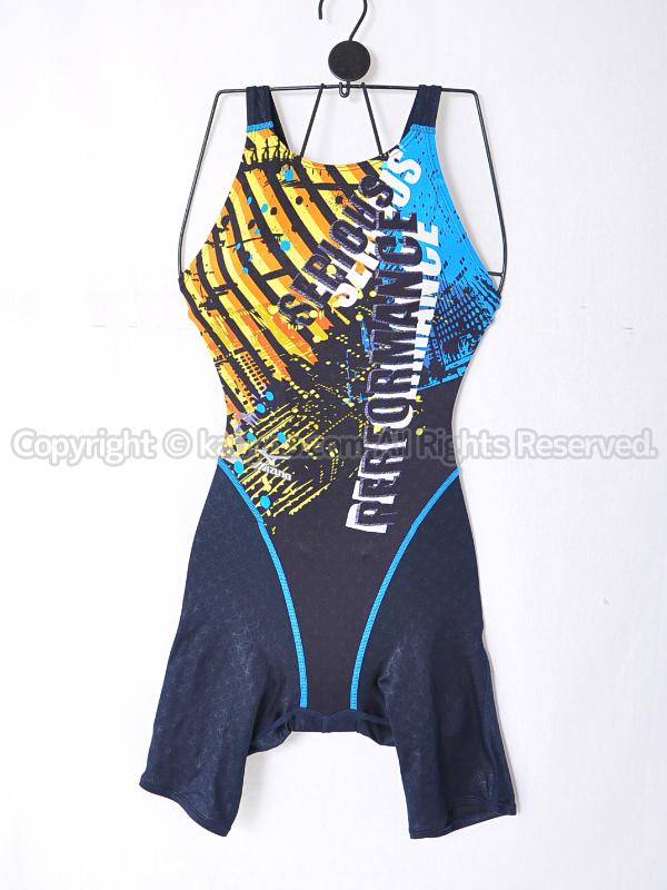 【買取】mizunoサニースイム85EH354クローズバックFina承認ハーフスパッツ競泳水着Dネイビー×ブルー