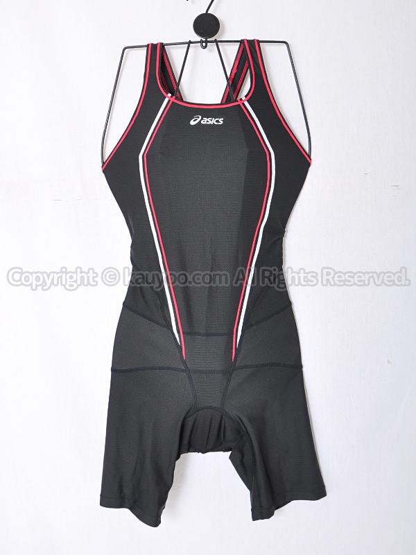 【買取】asicsコアバランスオールインワンALR050ハーフスパッツ競泳水着ブラック