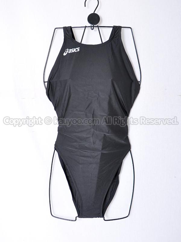 【買取】asicsアシックス旧ロゴALS85TハイドロCDハイカット競泳水着ブラック白ロゴ