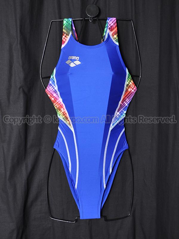 【買取】arenaアリーナnux-WリミックFina承認ハイカット競泳水着FAR-1505WHブルー