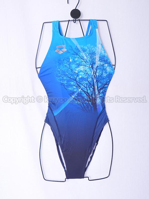 【買取】arenaアリーナnuxニュークスARN-5028Wリミック光沢ハイカット競泳水着ブルー柄