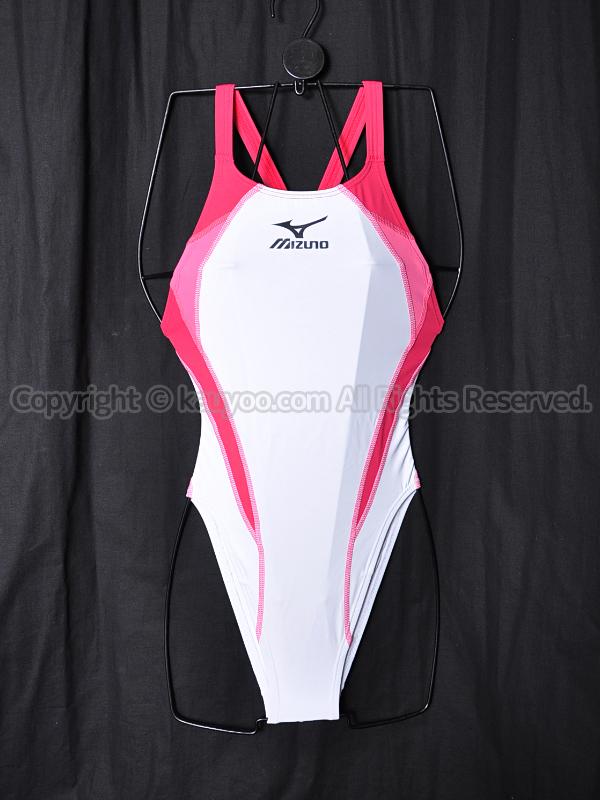 【買取】mizunoマイティライン3ハイカット競泳水着N2JQ421400ホワイト×ローズ×ピンク