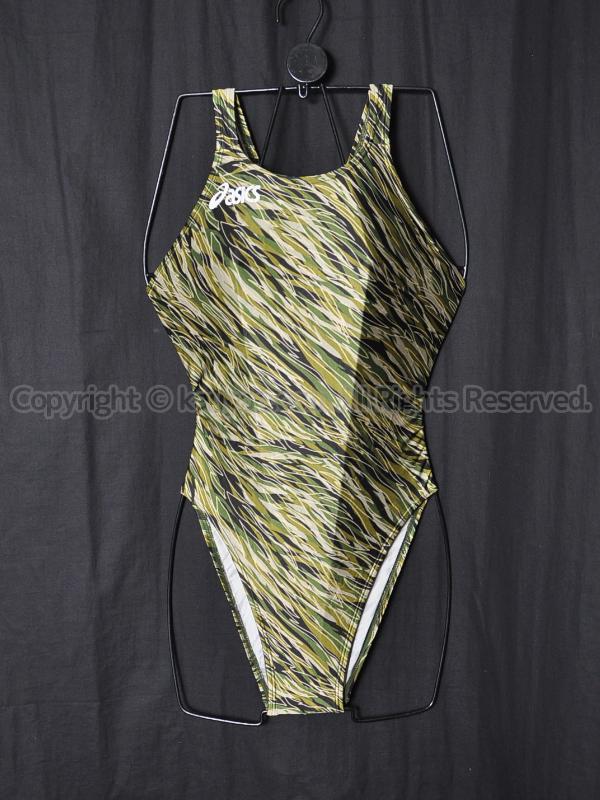 【買取】asicsアシックス旧ロゴAL1084ハイドロSPスパイラルカット2競泳水着グリーン柄