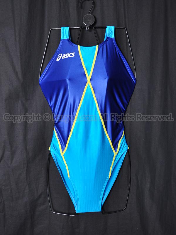 【買取】asicsアシックス旧ロゴTLINER-K別注AL48TKホールドカット競泳水着ターコイズ×Nブルー