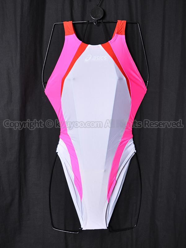 【買取】asics旧ロゴALS86TハイドロCD切替ハイカット競泳水着 白ピンク赤 白ロゴ