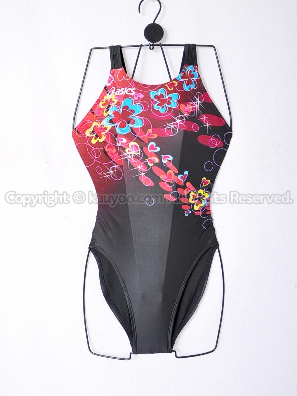 【買取】asicsアシックスSPLASHERスプラッシャーAL2224ホールドカット競泳水着ブラック柄