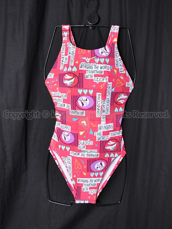 【買取】mizunoマイティラインCFミディアムカット競泳水着85EJー856ピンク柄