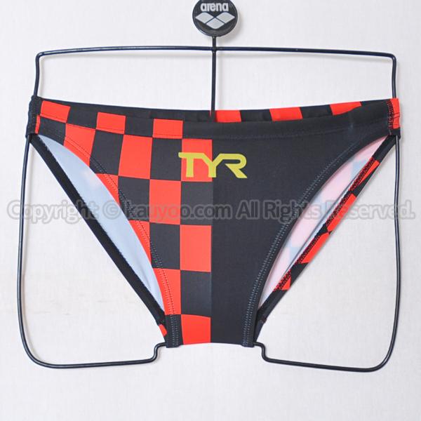 【買取】TYRティア別注ライフガードRGU3-20AQメンズビキニ赤黒チェッカー柄 競泳水着