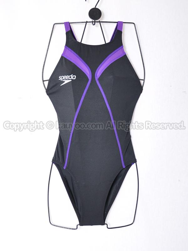 【買取】speedoスピードactive Hybridレースカット競泳水着SD42A05ブラック×パープル