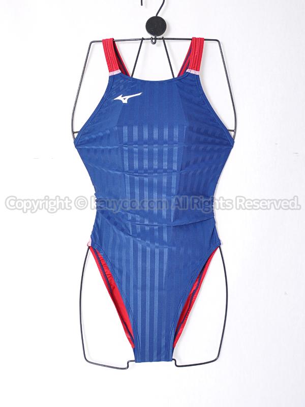 【買取】mizunoストリームアクセラFina承認ミディアムカット競泳水着N2MA8226ネイビー×レッド