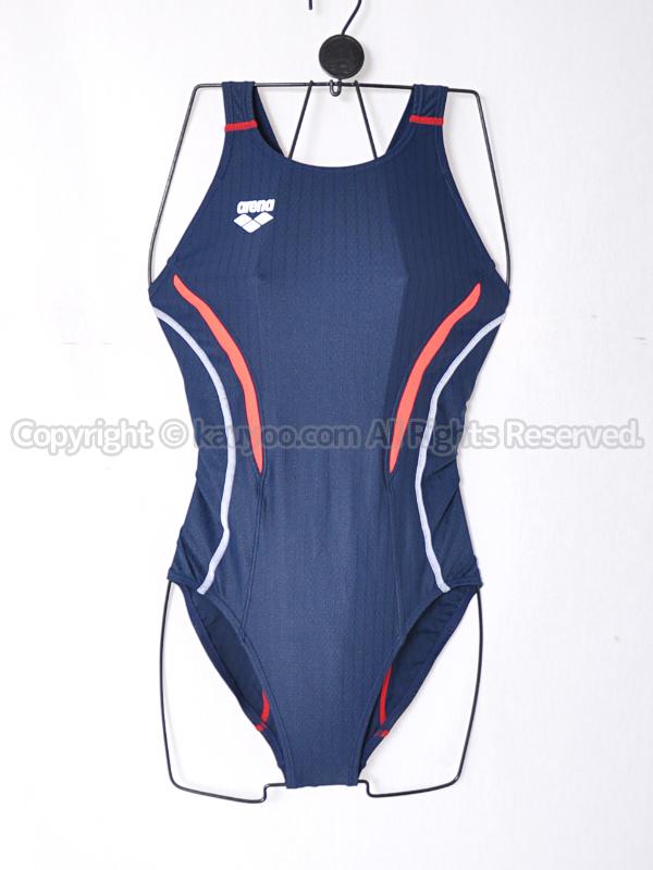 【買取】アリーナAQUA RACINGウロコスキンSTセイフリーバック競泳水着ARN-7051Wネイビー×Bレッド
