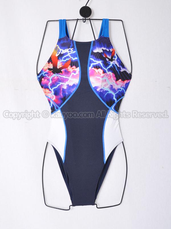 【買取】asicsアシックスTLINER ARROWAVEホールドカット競泳水着AL001Bネイビー×Mブルー