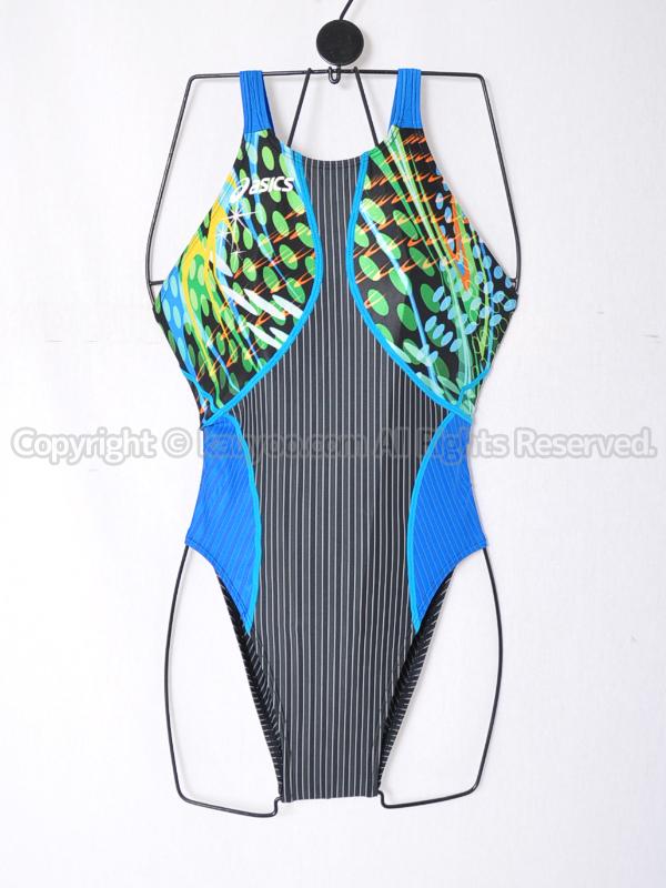 【買取】asicsアシックスTLINER ZERO-Xホールドカット競泳水着AL1242ブラック×ブルーグリーン