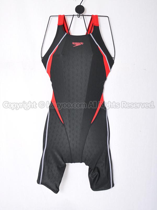 【買取】speedoスピード FLEXΣ IIセミオープンバックニースキン競泳水着SD48H09ブラック×レッド