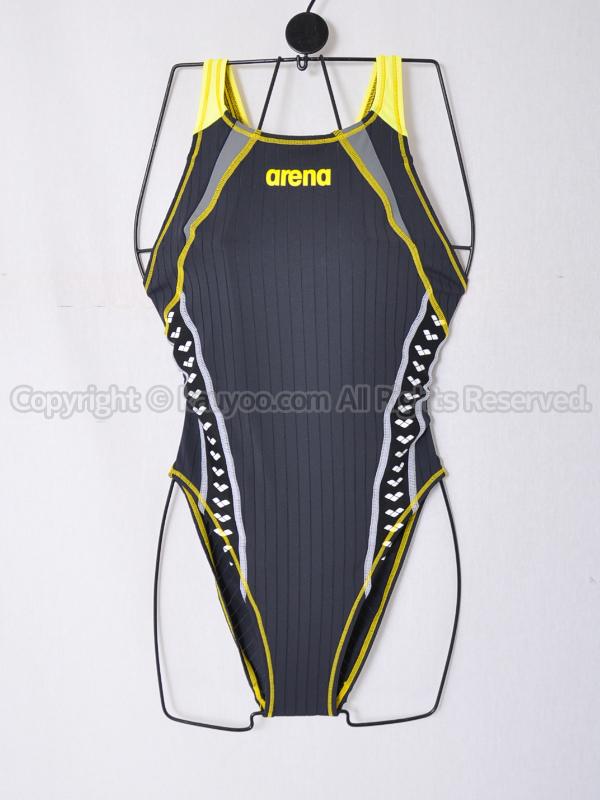 【買取】arenaダブルマットFリミック競泳水着FSA-0649Wブラック×イエロー×グレー